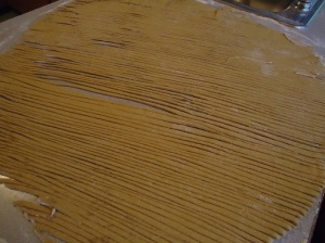 roll the pasta and cut it with knife